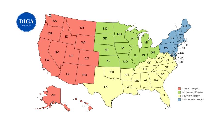 DIGA Regional Map